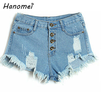 4 Colors Plus Size 2017 Punk Rock Vintage Grunge Hole Water Wash Mid Waist Ripped Retro Short Jeans Women Denim Shorts C503
