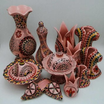 Handmade Pink Pottery Set ,2 X Vases , 2 X Sugar Bowl,1 Caftan Set,1 Tulip Decor Set , 1 Mini Sandal Set , 12 pcs in 1 Set,Fast Free Sipping