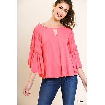 Layered Ruffle Bell Sleeve Keyhole Round Neck Top - Coral