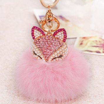 New Artificial Fur Ball Keychain Rhinestone Crystal Fox Head Pompom