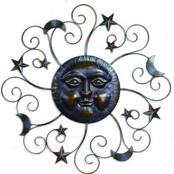 Celestial Metal Sun Face with Moon and Stars -- Large Metal Wall Decor Indoor Outdoor Garden - 39-in