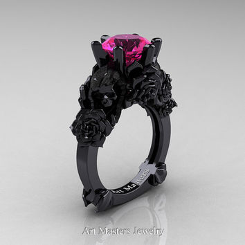 Love and Sorrow 14K Black Gold 3.0 Ct Pink Sapphire Skull and Rose Solitaire Engagement Ring R713-14KBGPS