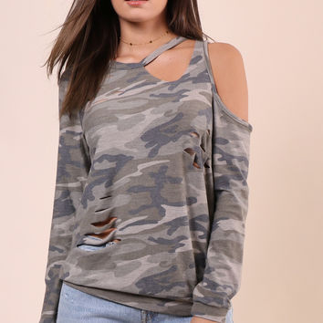 Jac Parker Distressed Camo Top