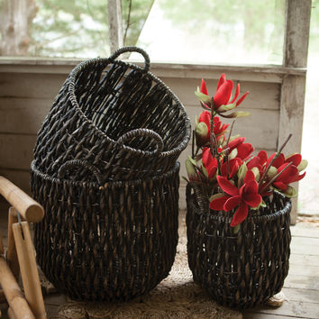 Set of 3 Water Hyacinth Twist Basket- Black Wash