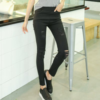 Woman Knee Skinny Pencil Pants