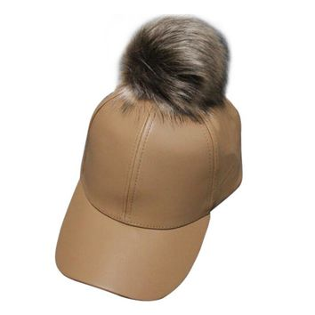 Women Unisex Baseball Cap  Ball Suede Adjustable Cap with real fur PU Leather pom poms brand new female Autumn cap