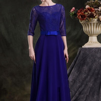Elegant Ball Gown with Ballet Length Sleeves Evening Dress