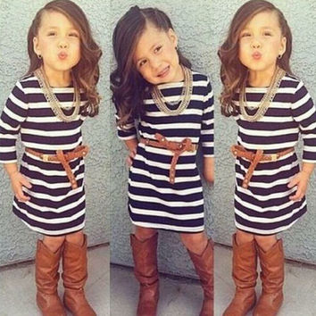 Girls Boutique Dress - Navy and White Dress Girls