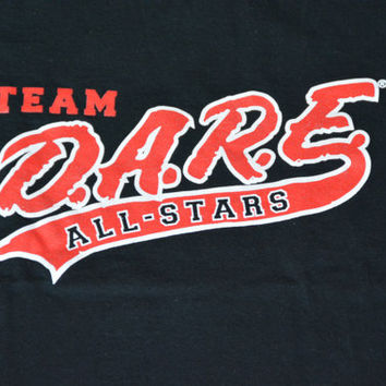 Vintage Black D.A.R.E. Team All-Stars Cotton T-Shirt -  Size S Small Retro Tee