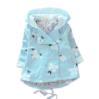 Fashion Baby Girls Coat Windproof Warm Hooded Jacket Children's Clothing Outwear
