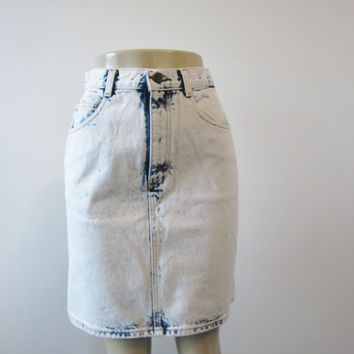 Vintage High Waisted Denim Jean Skirt Denim Mini Skirt Womens Acid Wash Denim Skirt USA 28