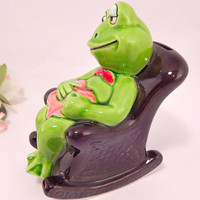 Green Frog in Rocking Chair Coin Bank Vintage 1950's Norcrest Collectible Ceramic Home Decor Frog Gift
