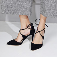 Summer Pointed Toe Leather Cross Strap High Heel Shoes [4919908100]