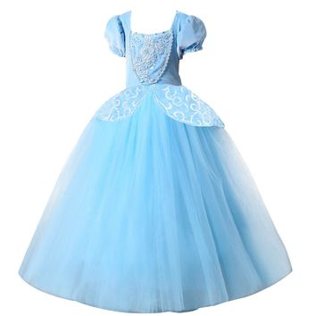 2017 christmas Princess Cinderella dress Girls Blue Long Dress  Costume Princess Party Dresse Ball Gown cosplay