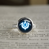 Fire Emblem Awakening inspired Mark of Exalt glass cabochon dome Silver Plated Adjustable Ring