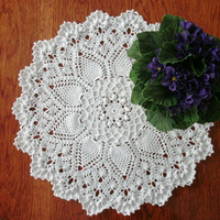 White pineapple doily 17 inches Crochet round doily Textured relief doily Centrepiece Crochet table topper Table decor Pineapple song