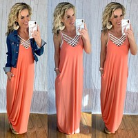 Forever Better Pocket Maxi Dress: Coral
