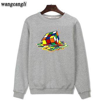 Melted Magic Cube Black/Gray Color Mens Hoodies and Sweatshirts Plus Size XXS-3xl Autumn Winter Warm Outwear Coat Fashion Style