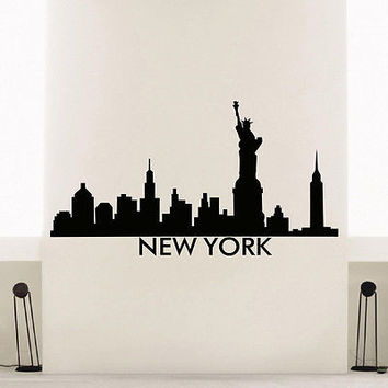 WALL DECAL VINYL STICKER NEW YORK SKYLINE CITY SILHOUETTE DECOR SB125
