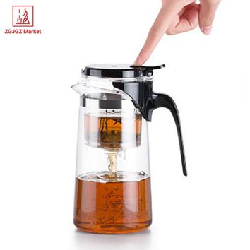 Samadoyo Handmade Drift Tea Pot Heat Resistant Borosilicate Glass Teapot Kung Fu Tea Set with Infuser SAG10 750ml Mug Tea Cup
