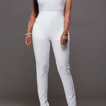 White Plain Sequin High Waisted Fashion Long Jumpsuit