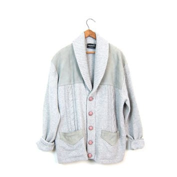 70s Suede Panel Cardigan Sweater Grey Cable Knit Sweater Button Up Western Cardigan with Pockets Gray Grandpa Sweater Extra Large XL