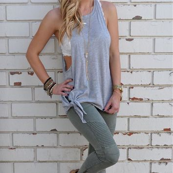 2016 Summer New Women Sexy tops  Fashion sleeveless t shirt Gray O-Neck  Solid Cotton Vest Tops Selling Clothes For Women