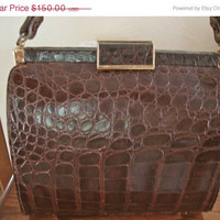 ON SALE Vintage Alligator Handbag with Coin Purse Luxury Retro Mad Men Holiday Gift