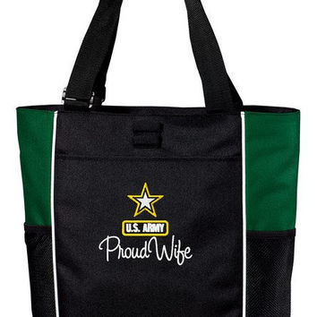 Proud US Army Wife Custom Embroidered Tote Bag Military Pride Troop Support