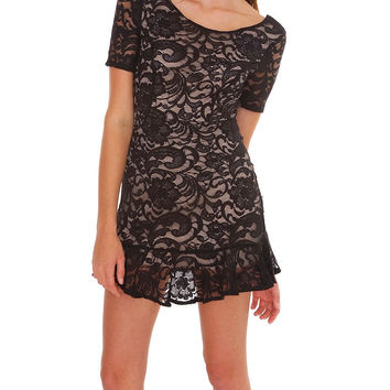 Looking Back Lace Dress - Black/Nude