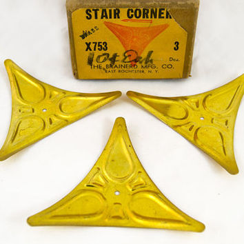 Antique Stair Dust Corners Hardware - Stair Corners Hardware - Set of 30