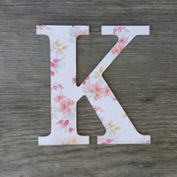 Shabby chic decorative letters, personalized wooden letters, shabby gray, peach and yellow floral