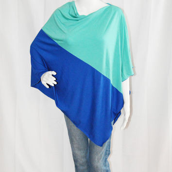 Colorblock  Poncho/ Nursing Cover/  Nursing Shawl/ Breastfeeding Cover/ One shoulder Top/ New Mom Gift