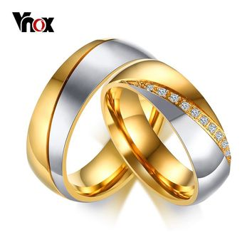 Vnox Temperament Wedding Rings For Women Men CZ Stones Stainless Steel Engagement Band Anniversary Personalized Gift Jewelry
