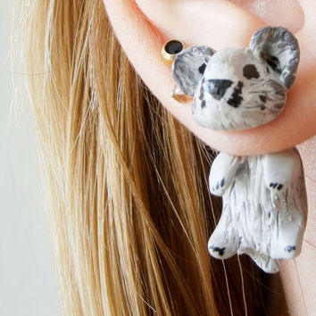 fake gauge plug two part hamster Earrings, Polymer Clay Adorable Jewelry, Pet Polymerclay