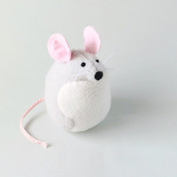 Small Handmade Light Gray and White Mouse Stuffed Animal Plush Mouse