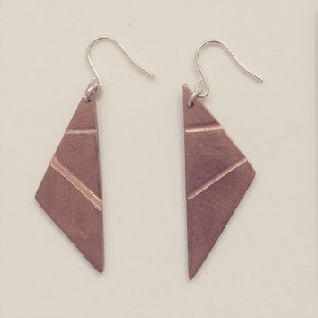 Copper hanging earring sterling silver hooks geometric triangle aztec
