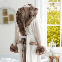 COZY FUR ROBE - IVORY/CARAMEL OMBRE