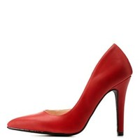 Red Pointed Toe D'Orsay Pumps by Charlotte Russe