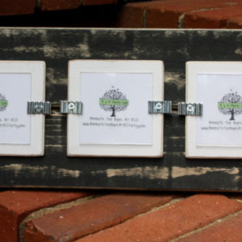 Picture Frame - Triple 3x3 Pictures - Distressed Wood - Black & White