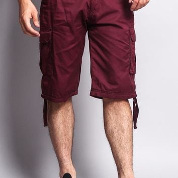 Solid Color Ripstop Belted Cargo Shorts 9AP30 - S7B
