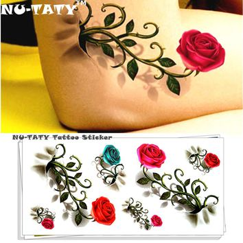 Nu-TATY Vintage Rose 3d Temporary Tattoo Body Art Flash Tattoo Sticker 19*9cm Waterproof Styling Henna Tatoo Home Decor Sticker