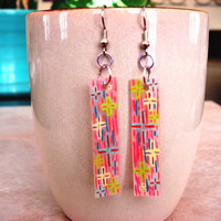 Psychedelic Proton Shrinky Dink Earrings by CaliLilyTreasureCo