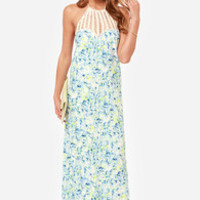 Lovers + Friends Mahalo Blue Floral Print Maxi Dress