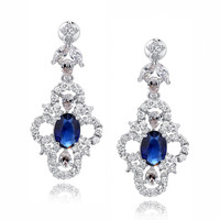 Blue Oval and Clear Teardrop, Marquise and Round Cubic Zirconia Earrings