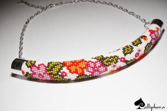 Bead Crochet Necklace Beaded Necklace From Calliphorabeads On
