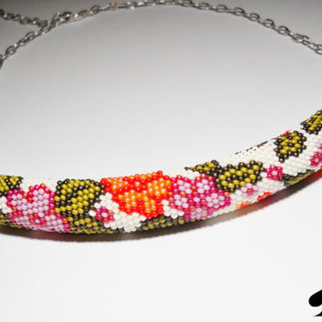 Bead Crochet Necklace -beaded necklace- bead crochet rope - flowers and leaves - unique gift-necklace- handmade jewelry-