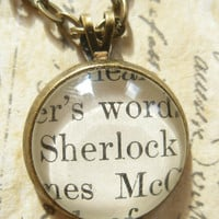 Unique Sherlock Holmes Small Pendant Necklace made with real Victorian book page- Antique Bronze-  Literary gift for her