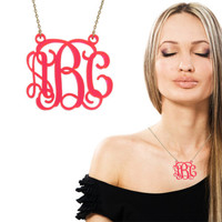 Monogram Acrylic Necklace - 1.25 '' Wide Three Initials Personalized - Pink Monogrammed Pendant Cut Out with 2 Loops & Gold filled Chain