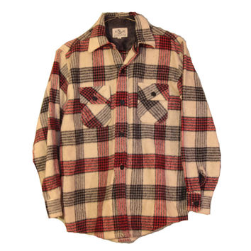 Vintage CPO Flannel - Lumberjack Flannel Jacket Thick Red, Tan and Black 70's Flannel with Anchor Buttons